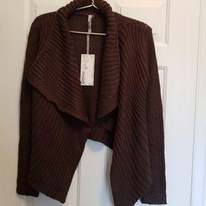 Ladies Miilla Charcoal Gray Knit Poncho Sweater